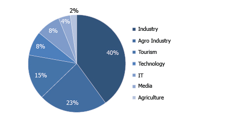 DISTRIBUTION OF ALL PROJECTS REVIEWED BY IDAL BY SECTOR IN 2015 (%share)